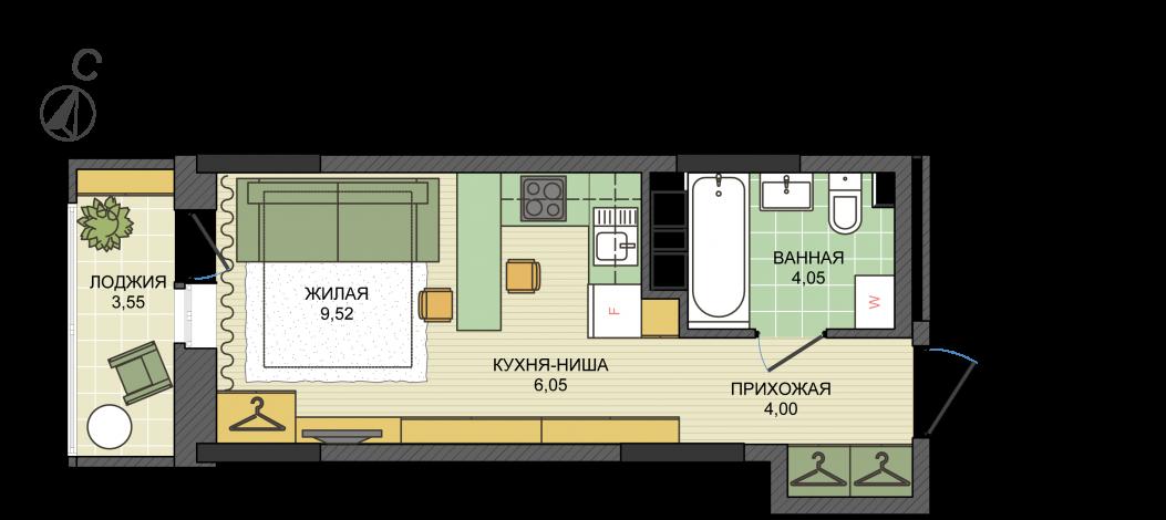 Студия, пл. 25.40 кв.м. - ЖК «Сосновый»