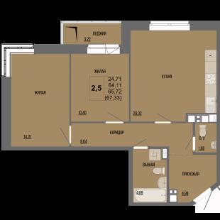 2,5-комнатная квартира в ЖК «Сосновый»