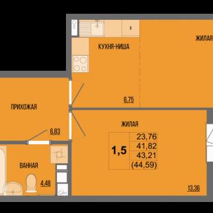 1,5-комнатная квартира в ЖК «Сосновый»
